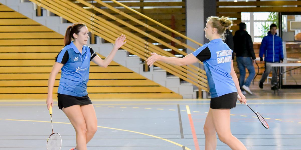 Usee Badminton Nationale1 03 avec Delphine Delrue et Laeticia Barre